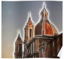 Navona Square Church Steeples  Poster