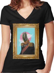 PALM MAN (Framed). Women's Fitted V-Neck T-Shirt