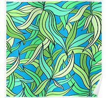 Floral pattern with leaves motive Poster