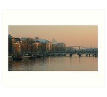 A late December afternoon at the River Amstel Art Print