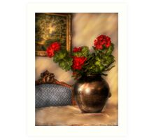 Geraniums on a Table Art Print