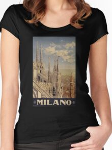 Milano' Vintage Poster (Reproduction) Women's Fitted Scoop T-Shirt