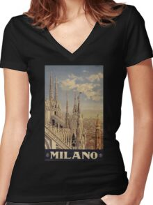 Milano' Vintage Poster (Reproduction) Women's Fitted V-Neck T-Shirt