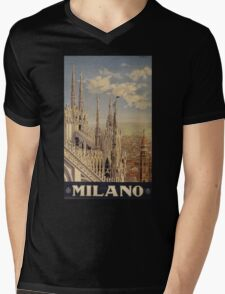 Milano' Vintage Poster (Reproduction) Mens V-Neck T-Shirt