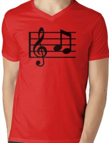 Notes music clef Mens V-Neck T-Shirt