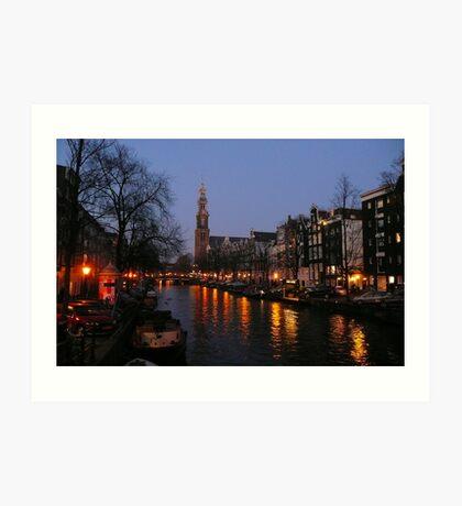 Nightfall at the Prinsengracht Art Print