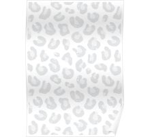 Silver Gray and White Leopard Print Poster
