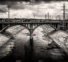 The LA River - Black and White by Nadim Baki