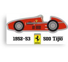 1952-53 Ferrari 500 Tipo, Double F1 championship winning car Canvas Print