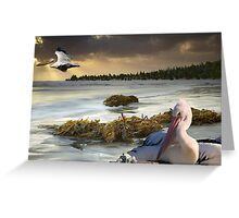 1098-Pacific Pelicans Sunset Greeting Card