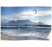 Kite Surfing in Cape Town, South Africa Poster