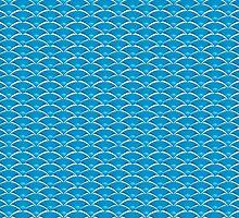 Blue Art Deco Scale Pattern by Brett Perryman