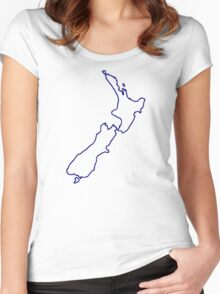 New Zealand map Women's Fitted Scoop T-Shirt