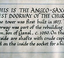 Sign at side of Anglo Saxon door St Gregories Minster Kirkdale North Yorkshire 198406020092 by Fred Mitchell