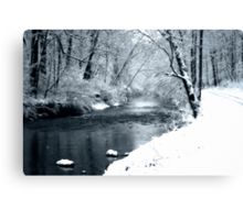 Winter Snow and Creek Canvas Print