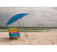 Beach Umbrella and Chair Photographic Print
