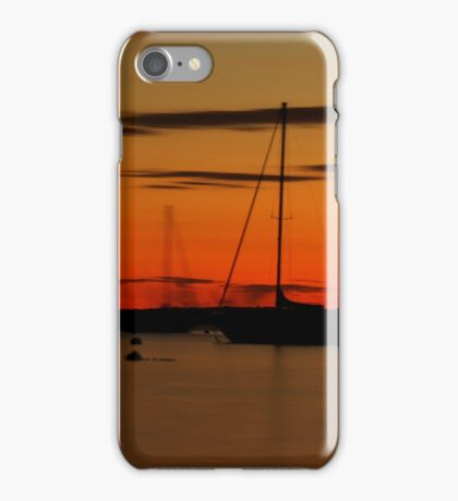 Sailboat Silhouettes at Sunset iPhone Case/Skin