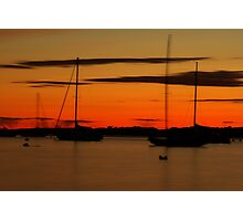 Sailboat Silhouettes at Sunset Photographic Print