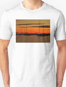 Sailboat Silhouettes at Sunset Unisex T-Shirt