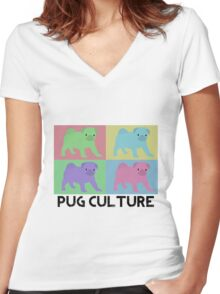 Pug Culture Women's Fitted V-Neck T-Shirt