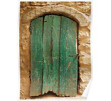 Old Green Wooden Door Poster