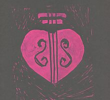 HeartStrings -Pink on grey by Stacie Arellano