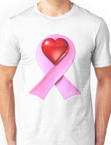 Breast Cancer Awareness Pink Ribbon Heart Unisex T-Shirt