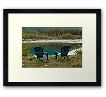 Two Chairs On The Riverbank Framed Print