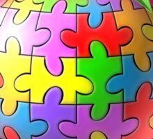 Teach Compassion Autism Awareness Puzzle Apple Sticker
