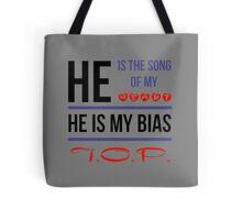 HE IS MY BIAS T.O.P. - Grey Tote Bag