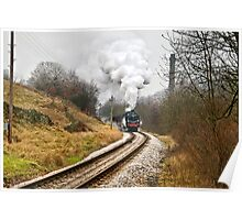 Steam Locomotive approaching Haworth Poster