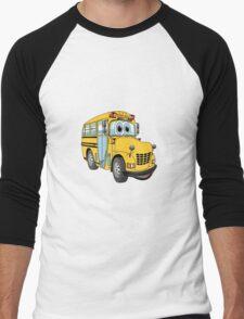 School Bus Cartoon Men's Baseball ¾ T-Shirt