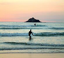 Sunset Surfers at Crantock Bay by Uberschnapp