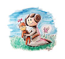 Princess Leia and Wookiee Doll Chewbacca STAR WARS fan art Photographic Print