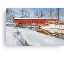 Snowy Oakalla Covered Bridge Canvas Print