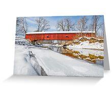 Snowy Oakalla Covered Bridge Greeting Card