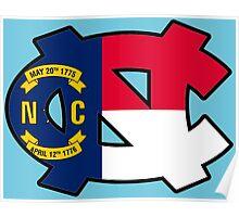 NC Flag UNC Logo Poster