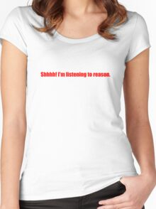 Pee-Wee Herman - Shhhh! I'm Listening to Reason - Red Font Women's Fitted Scoop T-Shirt