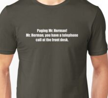Pee-Wee Herman - Paging Mr Herman - White Font Unisex T-Shirt