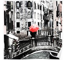 Red Umbrella in Venice Poster