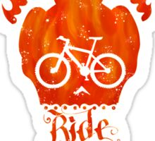 Ride like Hell Calligraphic cycling poster Sticker