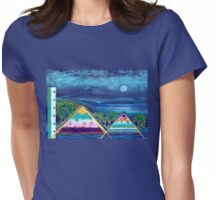 PARADISE ISLAND WITH TWO PYRAMIDES - PASTEL-COLLAGE-DESIGN Womens Fitted T-Shirt
