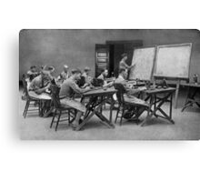 United States Signal Corps CLASS IN TELEPHONY - NLISTED MEN, U. S. ARMY The province of the telephone in modern warfare is constantly broadening 1917 Canvas Print
