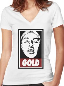 Issa Gold (the underachievers) Women's Fitted V-Neck T-Shirt