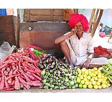 Bundi market vegetable seller Photographic Print