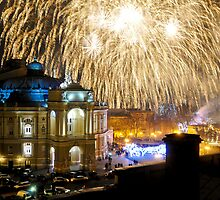Fireworks over the Odessa Opera House by Bob Burnham