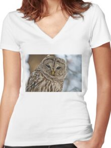 Barred Owl Women's Fitted V-Neck T-Shirt