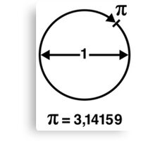 Pi / ∏ / π / Mathematics / Geometry (INT / Black) Canvas Print
