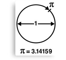 Pi / ∏ / π / Mathematics / Geometry (UK & US / Black) Canvas Print
