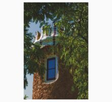 Fairy Tale Building Through the Trees - Impressions Of Barcelona Kids Tee